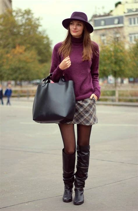 black tights and brown boots with plaid skirt