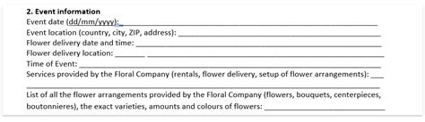 wedding florist contract template wedding floral contract template
