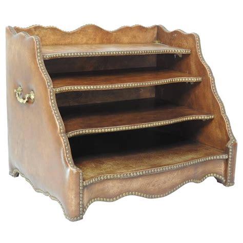 Tierd Brown Leather Desk Organizer With Brass Stud Trim Brown Leather Desk Accessories