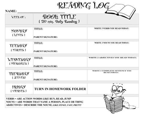 printable monthly reading log with parent signature printable reading logs with parent signature best photos
