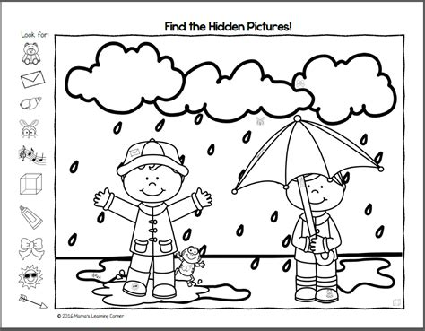 printable hidden pictures for kindergarten find it spring hidden picture worksheets mamas learning