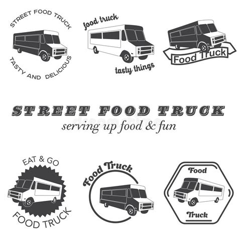 food truck design elements set of food truck emblems badges and design elements