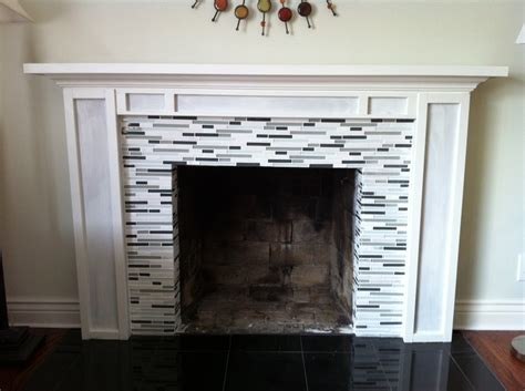 diy mantel with glass tile fireplace facelift homes