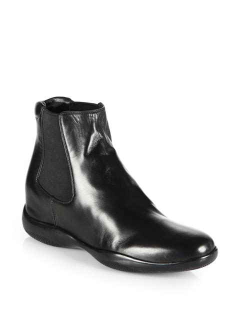 prada boots prada leather ankle boots in black nero black lyst