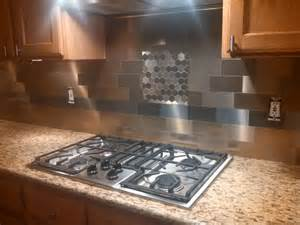 aspect metal backsplash tiles ruth used a mix of aspect peel stick 3x6 metal and
