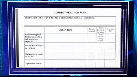 Creating A Corrective Action Plan Video Preview Youtube Project Management Corrective Plan Template