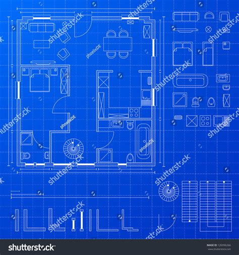 design a blueprint detailed illustration blueprint floorplan various design stock vector 126996266