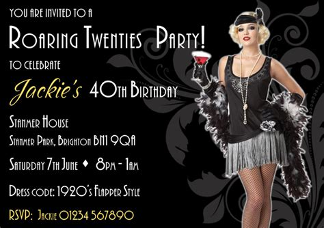 host a roaring 1920s twenties theme party resources and ideas the roaring twenies 1920s invitations the invitation