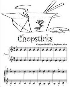 Sheet music with letters chopsticks beginner tots piano sheet music