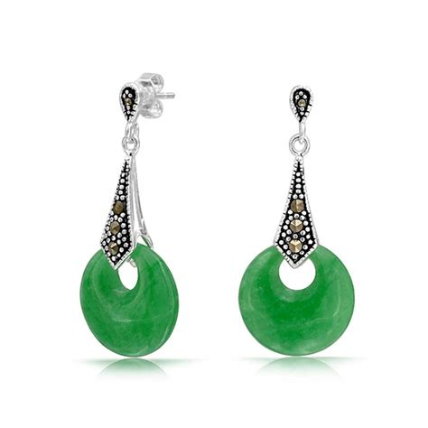 925 Sterling Silver Earrings 925 sterling silver marcasite green jade dangle earrings