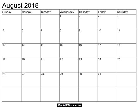 make your own calendar 2018 template august 2018 calendar printable template with holidays pdf