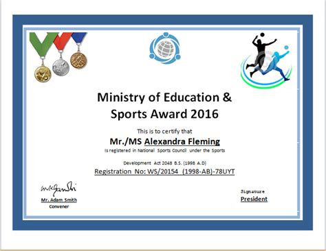 Certificate Design Sports | sports certificate template for ms word document hub