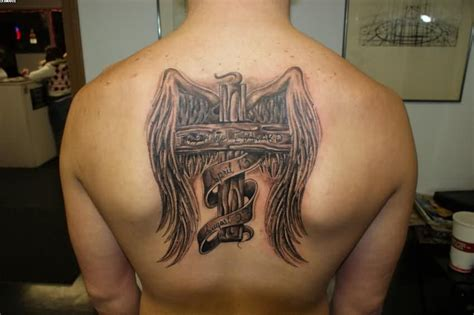 cross with wings tattoo on back wooden cross and wings tattoos on back 187 ideas