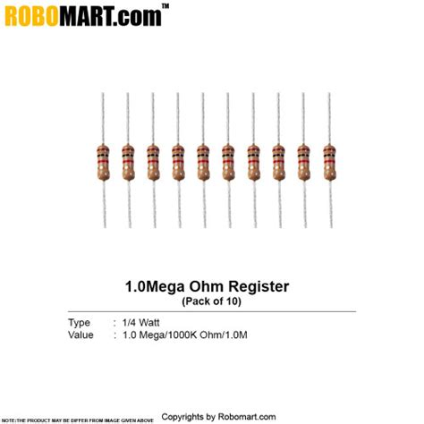 color code for 0 1 ohm resistor 1 0 mega ohm 1 4 watt resistor resistance buy india