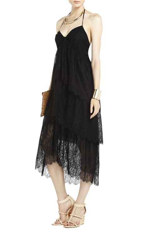 2 Die 4 Tiered Lace Dress by Bcbgmaxazria Lace Tiered Dress In Black Lyst