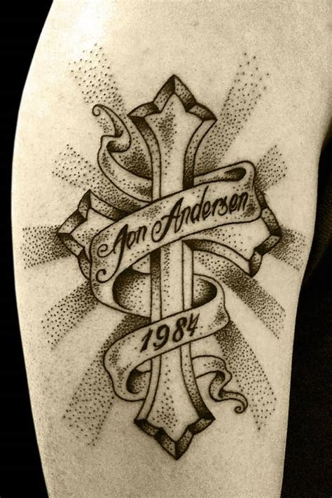 tattoos of crosses with banners cross banner ideas and cross banner designs