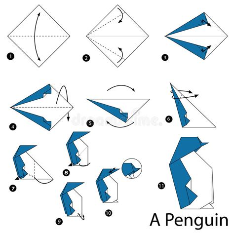 How To Make A Paper Penguin - step by step how to make origami a penguin