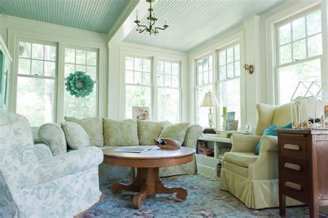 blue beadboard ceiling quot the enclosed sunroom porch the living room is the