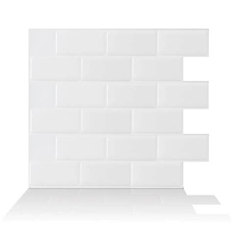 smart tiles 9 62 in x 9 33 in adhesive decorative tile smart tiles subway white 10 95 in w x 9 70 in h peel and