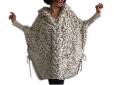 plus size knitting patterns plus size knitting poncho with hoodie size tweed by afra