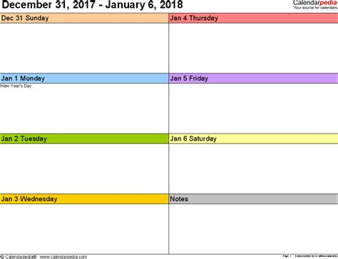 calendar template weekly 2018 weekly calendar 2018 for word 12 free printable templates