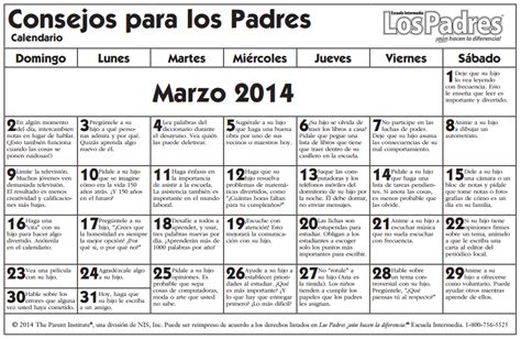 calendario de marzo de 2014 calendario de consejos para padres marzo march www