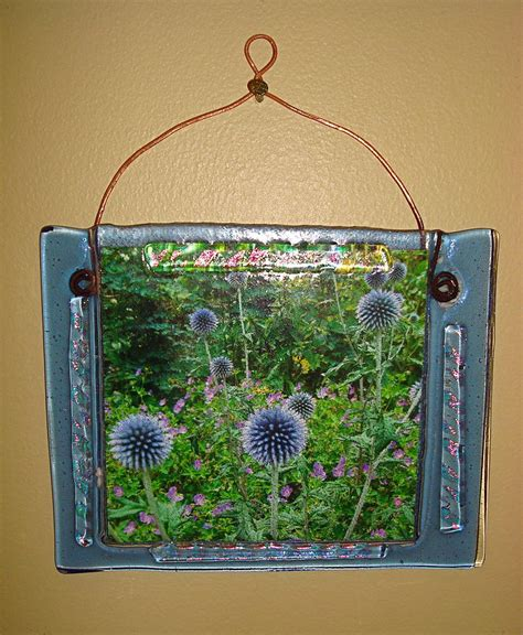 blue fused glass picture frame by cydney morel corton