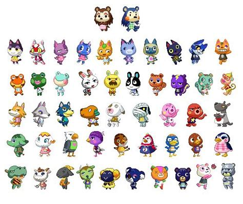 list of acnl characters animal crossing characters icon iconic board pinterest