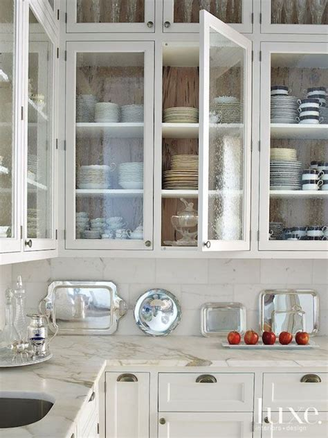 White Glass Door Kitchen Cabinets Seeded Glass Door Fronts Transitional Kitchen Luxe Interiors And Design
