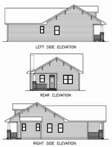 bungalow floor plan with elevation house plan 45516 at familyhomeplans com