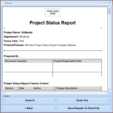 Word Report Template With Pictures 7 Project Status Report Template Bookletemplate Org
