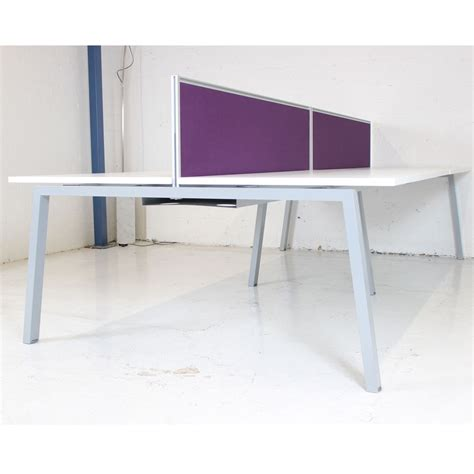 white bench desks white bench desk with silver frame and screens bench