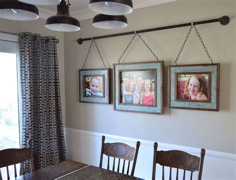iron pipe family photo display dining room ideas home