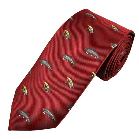 burgundy fly fishing s novelty tie from ties planet uk