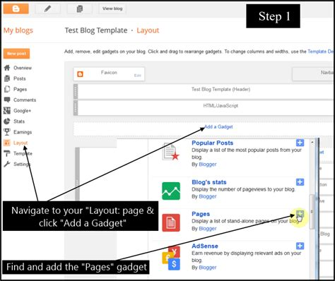 blogger pages how to add blogger posts to pages and navigation menu tabs