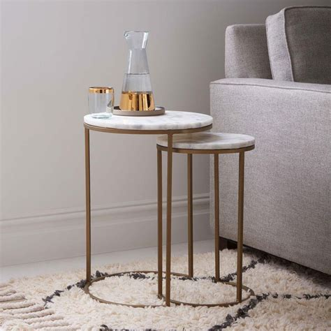 coffee and side table set nesting side tables set marble antique brass
