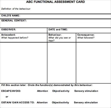 functional assessment observation form template pin by molly altenhofen keninger on mollys classroom