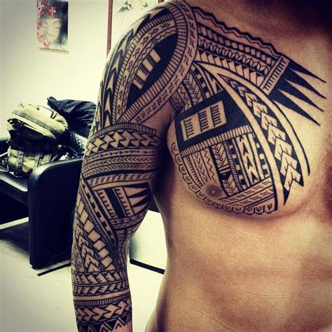 tribal chest arm tattoo polynesian tribal chest sleeve best ideas designs