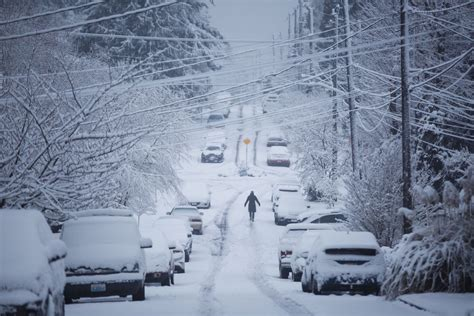 snow in heavy snowfall closes schools complicates commute knocks out power to thousands the seattle