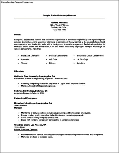 Resume Format For College Students For Internship by Resume Templates For College Students For Internships