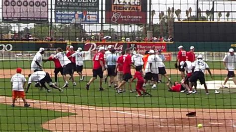 jj watt max bench bench clearing quot brawl quot j j watt charity softball game