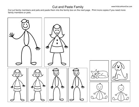 cut and paste family worksheets worksheets family