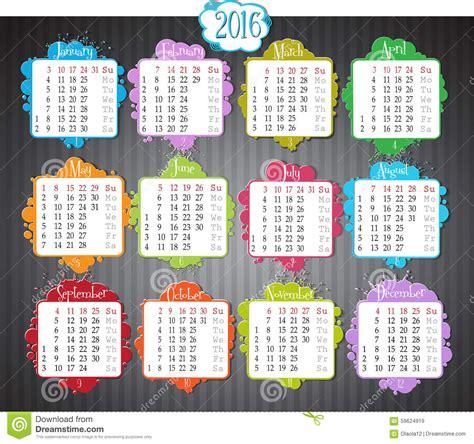 Calendrier Numéro Semaine 2016 Calendrier 2016 Illustration De Vecteur Image 59624919