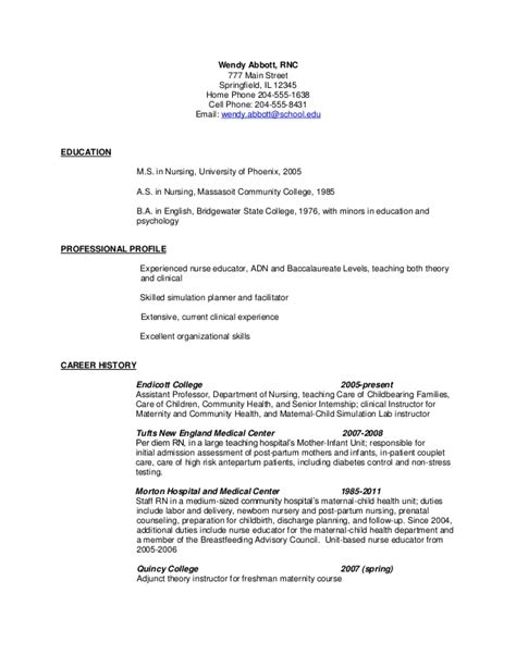 resume exles for labor and delivery nurses resume