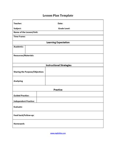 lesson feedback form template englishlinx lesson plan template
