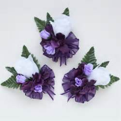 silk corsages eggplant purple hydrangea and roses silk flowers corsage