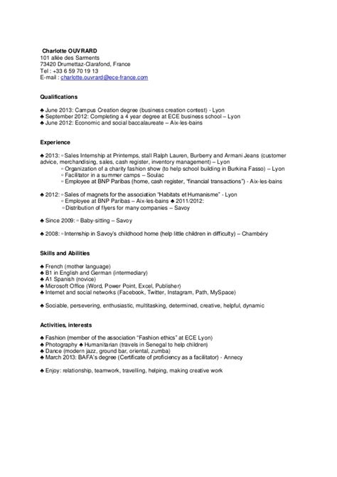 Lettre De Motivation Bts Banque Réorientation resume format lettre de motivation cv banque
