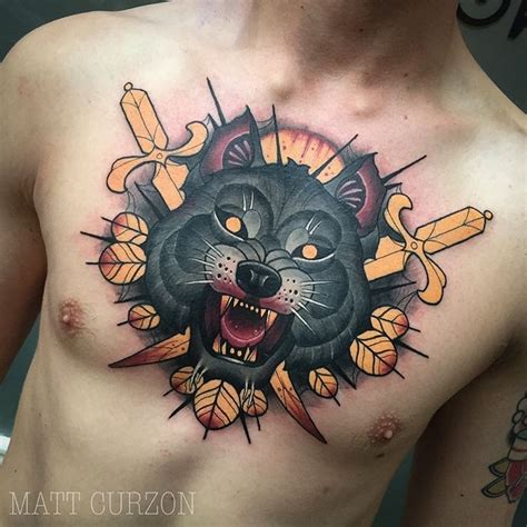 new school chest tattoo new school style colored chest tattoo of wolf with crossed
