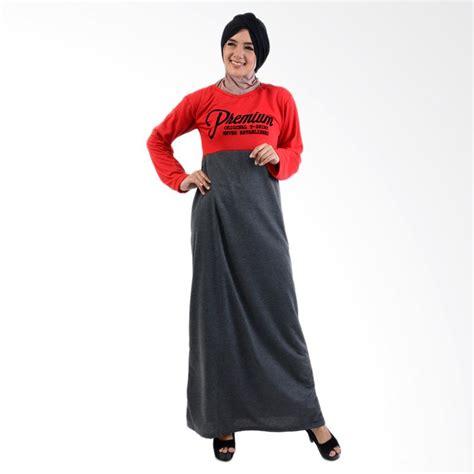 Gamis Buke Merah jual jfashion kombinasi warna plus printing tangan panjang
