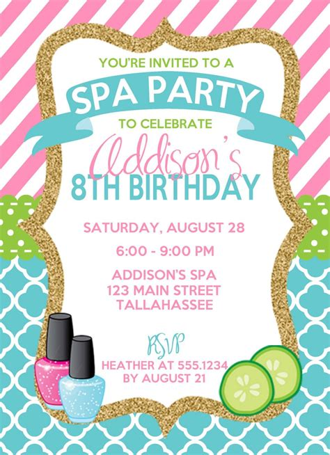 birthday invitations spa birthday invitation spa invitation sleepover birthday invitation pink and blue spa